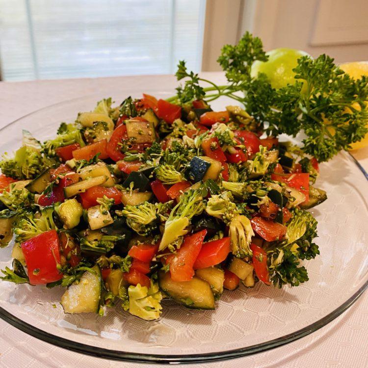 Chopped Broccoli, Red Pepper, Cucumber & Tomato Salad